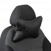 Подушка под шею из экокожи с ромбом чёрная