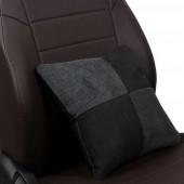 Подушка в салон серая-чёрная из алькантары