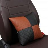 Подушка в салон чёрная-коричневая из экокожи